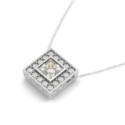 0.72 CTW Princess Certified VS/SI Diamond Solitaire Halo Necklace 14K White Gold - REF-119A8X - 3023