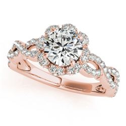1.69 CTW Certified VS/SI Diamond Solitaire Halo Ring 18K Rose Gold - REF-411M3H - 26821