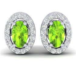 0.75 CTW Peridot & Micro Pave VS/SI Diamond Earrings Halo 18K White Gold - REF-34X5T - 21189
