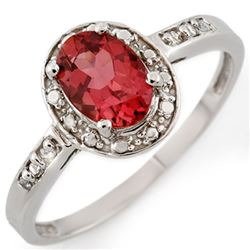 0.85 CTW Pink Tourmaline & Diamond Ring 10K White Gold - REF-20Y8K - 11689