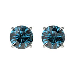 1 CTW Certified Intense Blue SI Diamond Solitaire Stud Earrings 10K White Gold - REF-87F2N - 33055