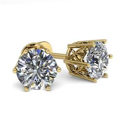 1.55 CTW VS/SI Diamond Stud Solitaire Earrings 18K Yellow Gold - REF-307H8A - 35842
