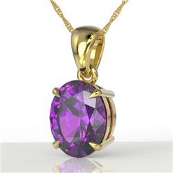 2.5 CTW Amethyst Designer Inspired Solitaire Necklace 18K Yellow Gold - REF-29X3T - 21850