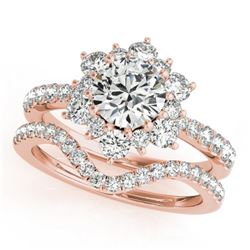 2.22 CTW Certified VS/SI Diamond 2Pc Wedding Set Solitaire Halo 14K Rose Gold - REF-425A3X - 30943