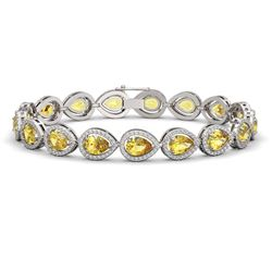 15.91 CTW Fancy Citrine & Diamond Halo Bracelet 10K White Gold - REF-276K2W - 41132