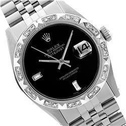 Rolex Men's Stainless Steel, QuickSet, Diam Dial with Pyrimid Diam Bezel  - REF-521W5H