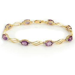 6.02 CTW Amethyst & Diamond Bracelet 10K Yellow Gold - REF-34M9H - 10790
