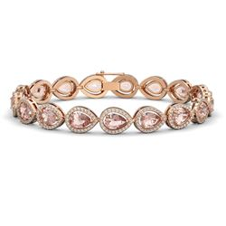 16.59 CTW Morganite & Diamond Halo Bracelet 10K Rose Gold - REF-388H2A - 41103