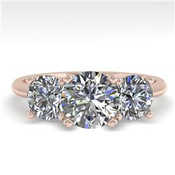 2 CTW VS/SI Diamond Past Present Future Designer Ring 14K Rose Gold - REF-473F6N - 38490