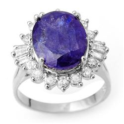 8.03 CTW Tanzanite & Diamond Ring 18K White Gold - REF-308W9F - 10429