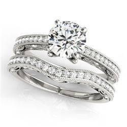 1.52 CTW Certified VS/SI Diamond Solitaire 2Pc Wedding Set Antique 14K White Gold - REF-398H8A - 315
