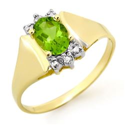 1.28 CTW Peridot & Diamond Ring 10K Yellow Gold - REF-14K8W - 13466