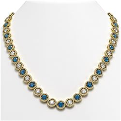 35.60 CTW Blue & White Diamond Designer Necklace 18K Yellow Gold - REF-4403A6X - 42679