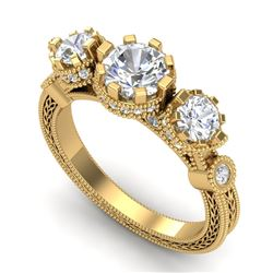 1.75 CTW VS/SI Diamond Solitaire Art Deco 3 Stone Ring 18K Yellow Gold - REF-309K3W - 37072