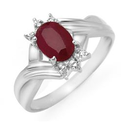 1.12 CTW Ruby & Diamond Ring 18K White Gold - REF-31X3T - 14189