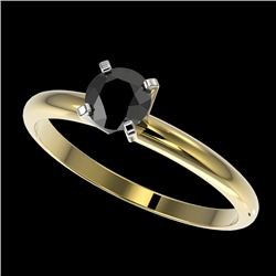 0.50 CTW Fancy Black VS Diamond Solitaire Engagement Ring 10K Yellow Gold - REF-23T3M - 32860