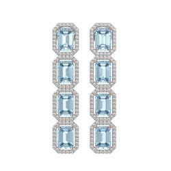 11.13 CTW Sky Topaz & Diamond Halo Earrings 10K White Gold - REF-147W5F - 41456