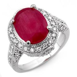 6.0 CTW Ruby & Diamond Ring 14K White Gold - REF-100Y9K - 11524