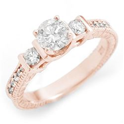 1.0 CTW Certified VS/SI Diamond Ring 14K Rose Gold - REF-150H4A - 11533