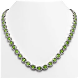 31.1 CTW Peridot & Diamond Halo Necklace 10K White Gold - REF-554Y8K - 40427