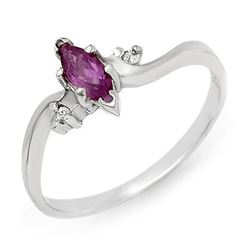 0.29 CTW Amethyst & Diamond Ring 18K White Gold - REF-22M8H - 12381