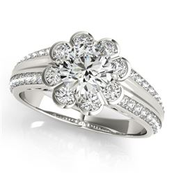 0.85 CTW Certified VS/SI Diamond Solitaire Halo Ring 18K White Gold - REF-121T8M - 27030
