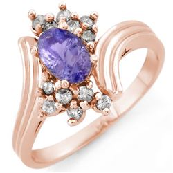 1.0 CTW Tanzanite & Diamond Ring 14K Rose Gold - REF-37A8X - 10148