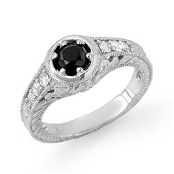 0.80 CTW VS Certified Black & White Diamond Ring 14K White Gold - REF-59A3X - 14069
