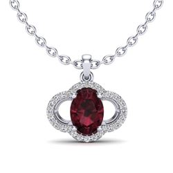 2 CTW Garnet & Micro Pave VS/SI Diamond Necklace 10K White Gold - REF-29T6M - 20633