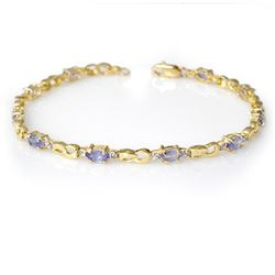 2.06 CTW Tanzanite & Diamond Bracelet 10K Yellow Gold - REF-43F6N - 12586