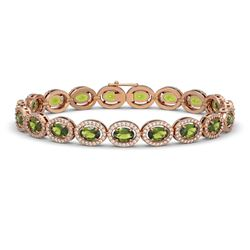 13.87 CTW Tourmaline & Diamond Halo Bracelet 10K Rose Gold - REF-271X6T - 40473