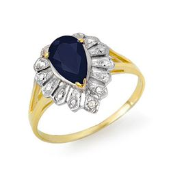 1.12 CTW Blue Sapphire & Diamond Ring 10K Yellow Gold - REF-12H5A - 13551