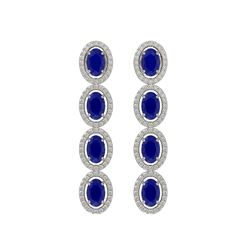 6.47 CTW Sapphire & Diamond Halo Earrings 10K White Gold - REF-109W5F - 40508