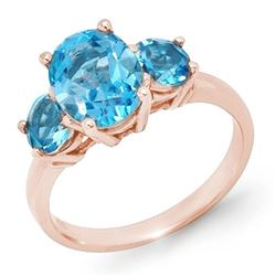 3.25 CTW Blue Topaz Ring 10K Rose Gold - REF-22N2Y - 13340