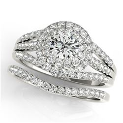 1.41 CTW Certified VS/SI Diamond 2Pc Wedding Set Solitaire Halo 14K White Gold - REF-157W6F - 30981