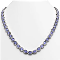 31.96 CTW Tanzanite & Diamond Halo Necklace 10K White Gold - REF-604A2X - 40409