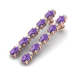 15.47 CTW Amethyst & VS/SI Certified Diamond Tennis Earrings 10K Rose Gold - REF-75K6W - 29470