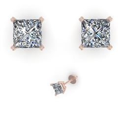 1.05 CTW Princess Cut VS/SI Diamond Stud Designer Earrings 18K White Gold - REF-180H2A - 32283