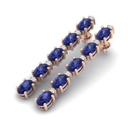 15.47 CTW Tanzanite & VS/SI Certified Diamond Tennis Earrings 10K Rose Gold - REF-189Y3K - 29492