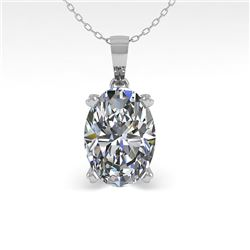 0.50 CTW VS/SI Oval Diamond Designer Necklace 14K White Gold - REF-81X3T - 38406