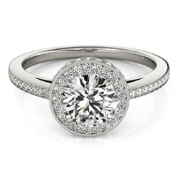 1 CTW Certified VS/SI Diamond Solitaire Halo Ring 18K White Gold - REF-143F6N - 26916