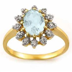 1.62 CTW Aquamarine & Diamond Ring 10K Yellow Gold - REF-26K8W - 11500