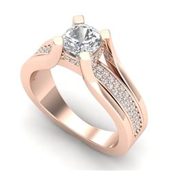 1.7 CTW Cushion VS/SI Diamond Solitaire Micro Pave Ring 18K Rose Gold - REF-472W8F - 37164