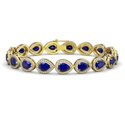 21.69 CTW Sapphire & Diamond Halo Bracelet 10K Yellow Gold - REF-315K5W - 41098