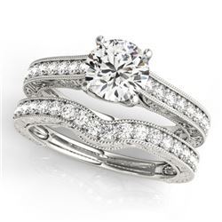 2.17 CTW Certified VS/SI Diamond Solitaire 2Pc Wedding Set 14K White Gold - REF-560K3W - 31673