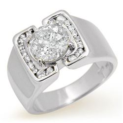 2.08 CTW Certified Diamond Men's Ring 10K White Gold - REF-510M2H - 14479