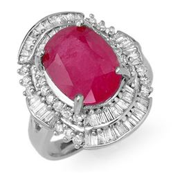5.75 CTW Ruby & Diamond Ring 18K White Gold - REF-152K8W - 12902