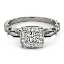 0.55 CTW Certified VS/SI Diamond Solitaire Halo Ring 18K White Gold - REF-88T2M - 26254