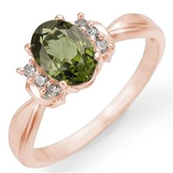 1.06 CTW Green Tourmaline & Diamond Ring 14K Rose Gold - REF-36M4H - 13545