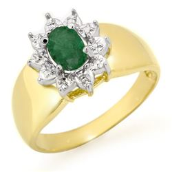 0.50 CTW Emerald Ring 10K Yellow Gold - REF-14X5T - 13377